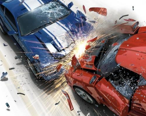 Pierwsza faza - to moment zderzenia samochodu z przeszkodą