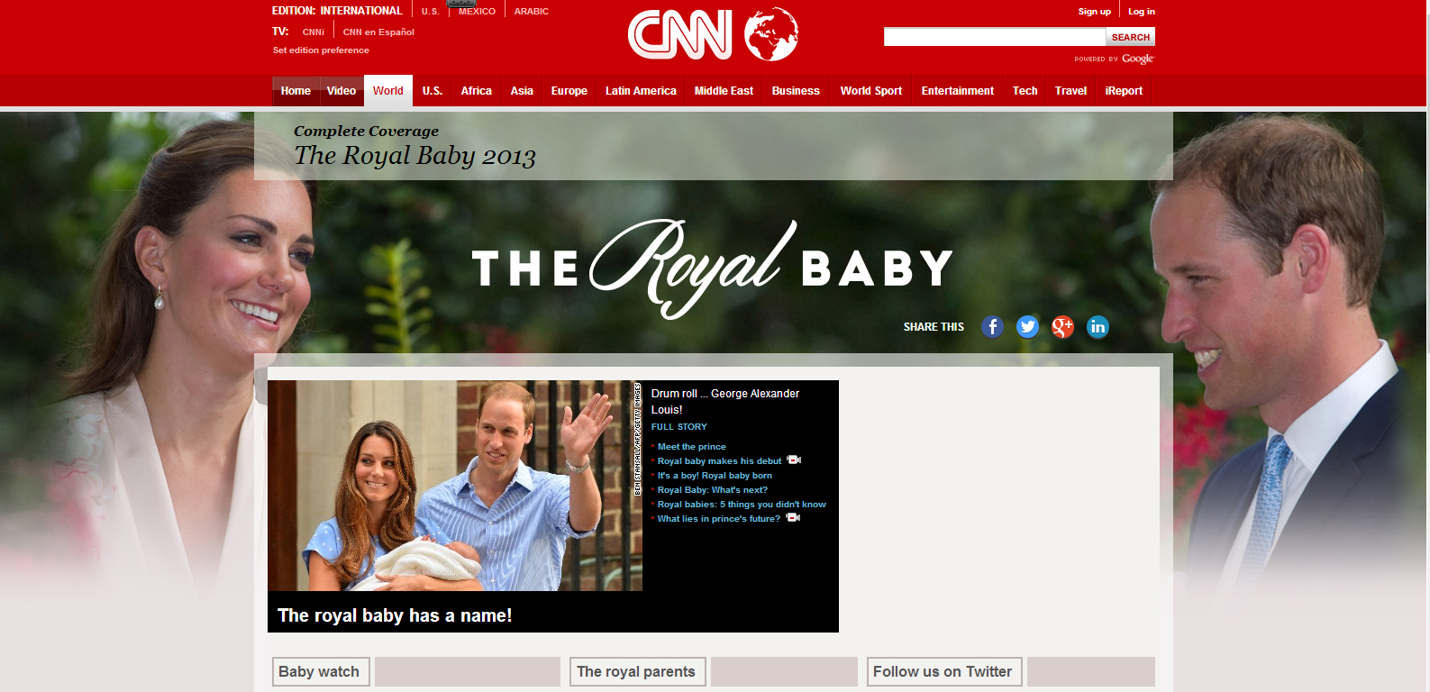 CNN nawet utworzyło oddzielną stronę poświęconą tylko Royal Baby
