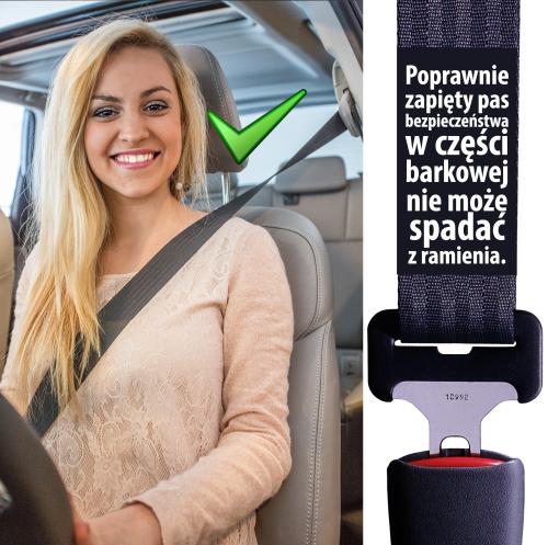 Zapinaj pasy bezpieczeństwa poprawnie - Pas nie może spadać z ramienia
