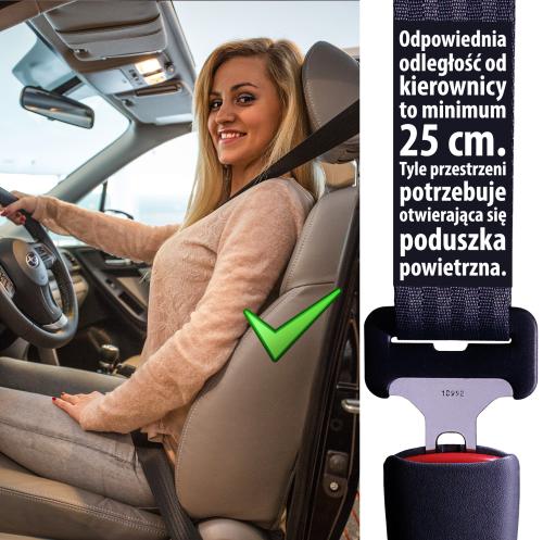 Zapinaj pasy bezpieczeństwa poprawnie - Odległość od kierownicy ma istotne znaczenie