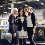 Nadja Weicker (Britax Roemer), Anna Markowska (fotelik.info) i Magdalena Osses (Britax Roemer) na targach Kids' Time.