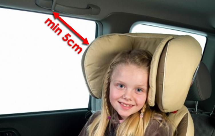 Minimalna odległość zagłówka fotelika 15-36kg od nadszybia to 5cm w przypadku kiedy samochód wyposażony jest w kurtyny powietrzne
